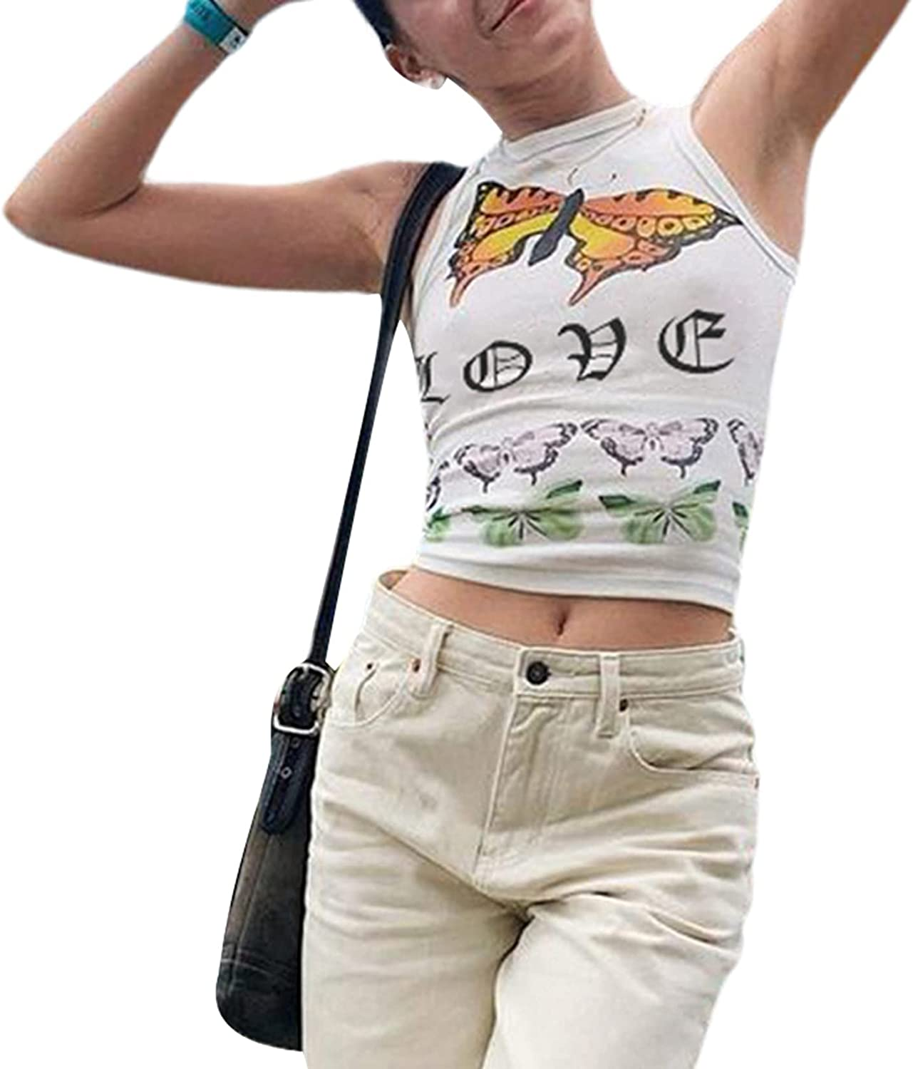 Women 's Casual Round Neck Vest Fashion Butterfly Printing Exposed Navel Sleeveless Tops