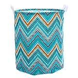Cesta plegable para la colada, cesta de almacenamiento de juguetes azul con asa, cesta grande de tela de lona ligera (color: azul, tamaño: 40 x 50 cm)
