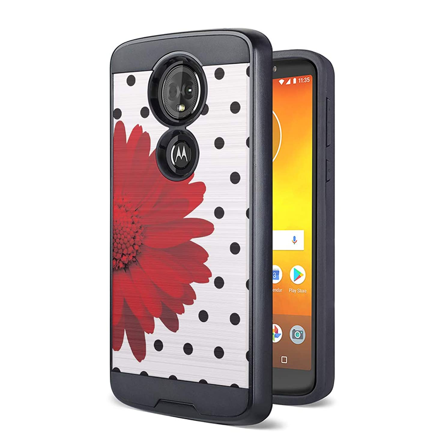 Moriko Case Compatible with Moto G7 Power, Moto G7 Supra [Drop Protection Fusion Dual Layer Slick Armor Case Black] for Motorola Moto G7 Power - (Red Daisy)