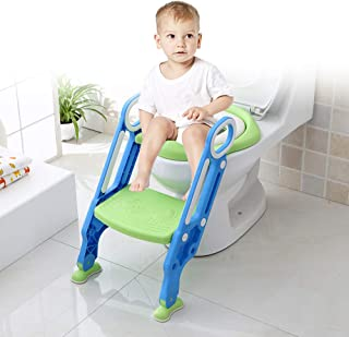 Potty Training Seat with Step Stool Ladder,Toddler Toilet Seat Adjustable Baby Toilet Trainer Seat, Potty Training Non-Slip Pedal and Soft Cushion,Easy & Safe Potty Chair (Blue-Green)