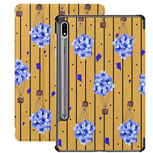 Funda Galaxy Tablet S7 Plus de 12,4 Pulgadas 2020 con Soporte para bolígrafo S, patrón de línea de Flores de Globo Volador, Funda Protectora con Soporte Delgado, para Samsung