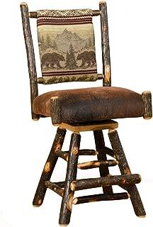 Furniture Barn USA Set of Two Rustic Hickory Straight Back Swivel Stools-Bar Height-Bear Mountain Fabric