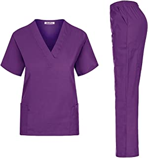 MedPro Women's Unisex Solid Medical Scrub Set V-Neck Top and Cargo Pants