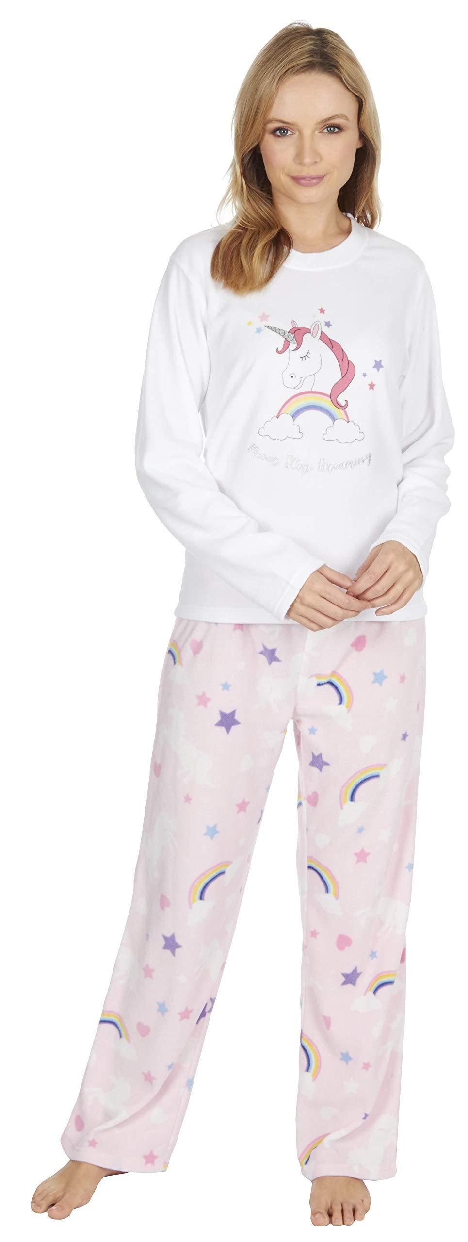 Habigail Ladies Girls Pyjamas PJs for Women Cozy Warm Fleece Twosie Pajama Set Mum /& Daughter Matching Pajamas Sets