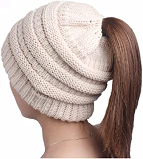 Ponytail Messy Beanietail Knit Bun Hat Cable Knit Hat Winter Baggy Wool Skull Cap