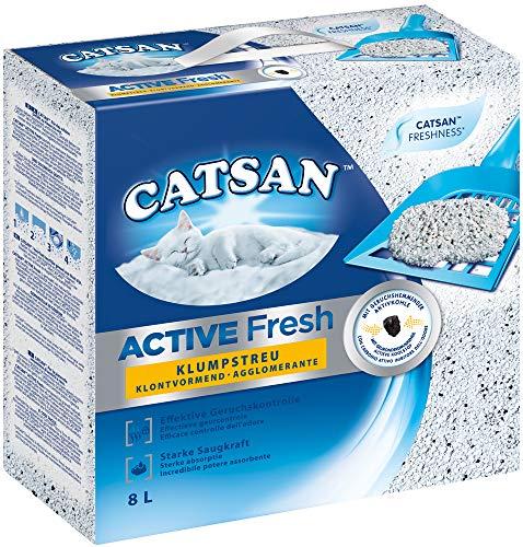 Catsan Active Fresh – Katzenstreu aus Naturton mit Aktivkohle – Effektive Bindung von Geruch und Feuchtigkeit – 1 x 8 Liter