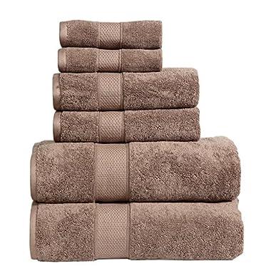 Dream Castle Linens 650 GSM Luxury 6-Piece 100% Long Staple Combed Cotton Bath Towel Set(MOCHA); 2 Bath Towels,2 Hand Towels,2 Washcloths,Hotel & Spa Towels,HUDSON,Terry,Soft & Absorbent