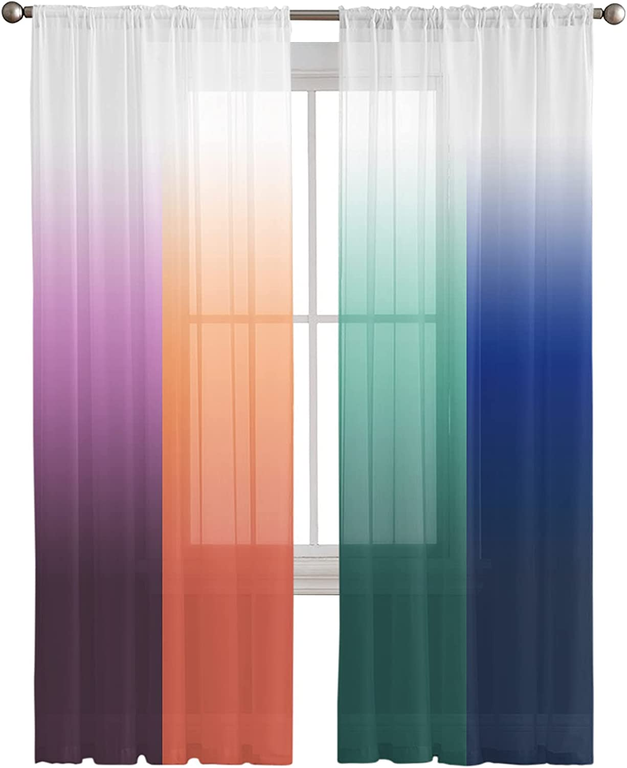 Semi Sheer Curtains Half Transparent Popular standard Privacy C service Gradient Abstract