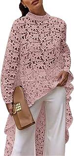 Women Long Sleeve High Low Hem Sweatshirt Pullover Tops Lace Crochet See Through Loose Fit Shirt Blouse