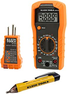 Klein Tools 69149 Electrical Test Kit with Multimeter, Non-Contact Voltage Tester and Receptacle Outlet Tester (Renewed)