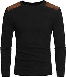 b48c3046 Men's Pullover Sweater, Ecurson Man's Fashion Casual Round Neck Patchwork  Men's Sweaters Tops Blouse (