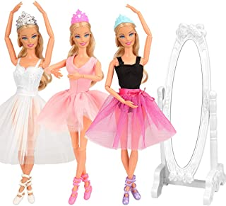 BARWA 3 Sets Ballerina Doll Clothes Ballet Outfits Dance Dresses Costume Mirror Tutu Skirt with 3 Shoes 3 Crown Accessories for 11.5 inch Girl Doll