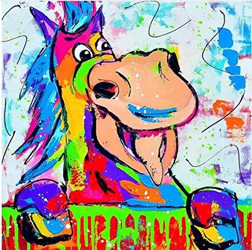Ajwkob Kits de Pintura por números, Vaca de Dibujos Animados Pintura Digital DIY Fin de Semana de Halloween Juegos Casuales Lienzo Impreso Arte Imagen Dibujo (40x40cm)