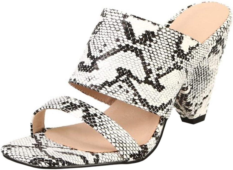 Lydee Women Fashion Summer shoes Block High Heels Mules Sandals