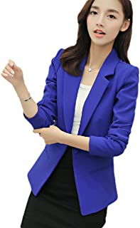 Howely Women 1 Button Solid Color Fitness Notch Lapel Suit Coat for Office Wear
