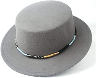 Pork Pie Hat Fedora Trilby Men Women Flat Top Fedora Hat Trilby Church Jazz Hat Wide Brim Fascinator Hat Outdoor Casual Flat Hat Size 56-58CM (Color : Gray, Size : 56-58)