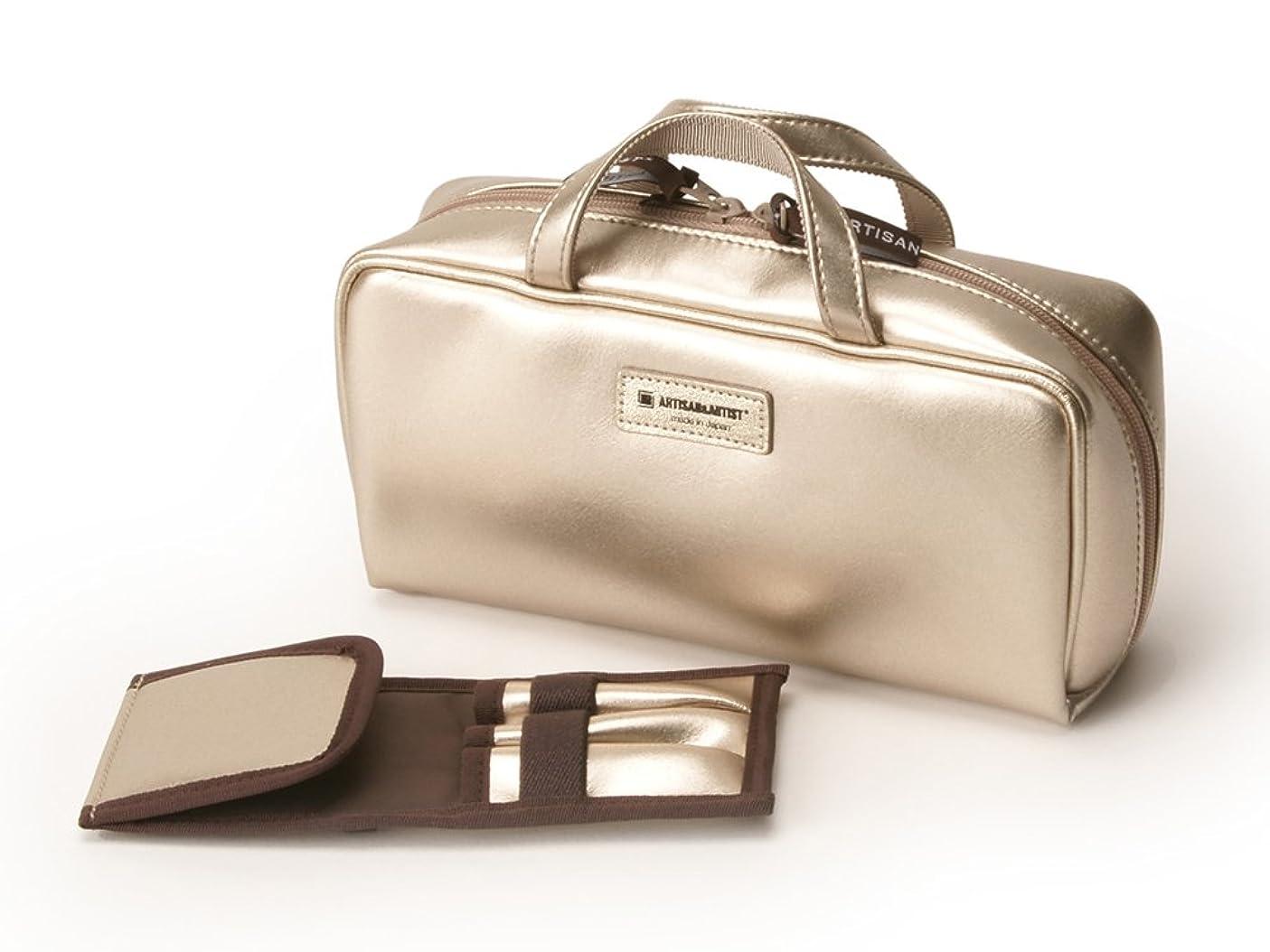 バッグあさりかんたん[アルティザン&アーティスト] ブラシケース付きバッグ型ポーチ<Daily Gold(デイリーゴールド)> 8WP-PT619 ゴールド