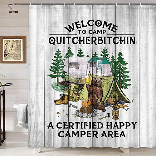 Camper RV Shower Curtain, Rustic Farmhouse Wood Plank Camper Trailer Bear Tree RV Campfire Tent Camping Shower Curtain Bathroom, Fabric Polyester Camp Adventure Shower Curtain 12Pcs Hooks, 69X70IN