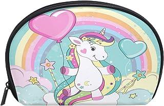 ALAZA Rainbow Unicorn Half Moon Cosmetic Makeup Toiletry Bag Pouch Travel Handy Purse Organizer Bag for Women Girls