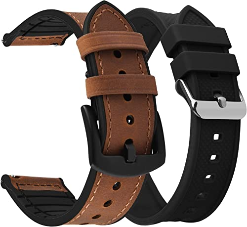 new arrival Fullmosa discount Quick Release Watch Band Leather Silicone 22mm Brown+Black Buckle sale & Watch Band Rubber 22mm Black outlet sale