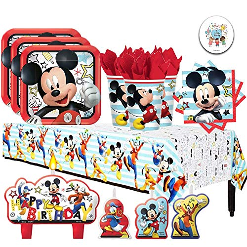 Disney Mickey Mouse On the Go Birthday Supplies Party Pack for 16 Guests with Plates, Napkins, Cups, Tablecover, Candles, and Exclusive Pin By Another Dream