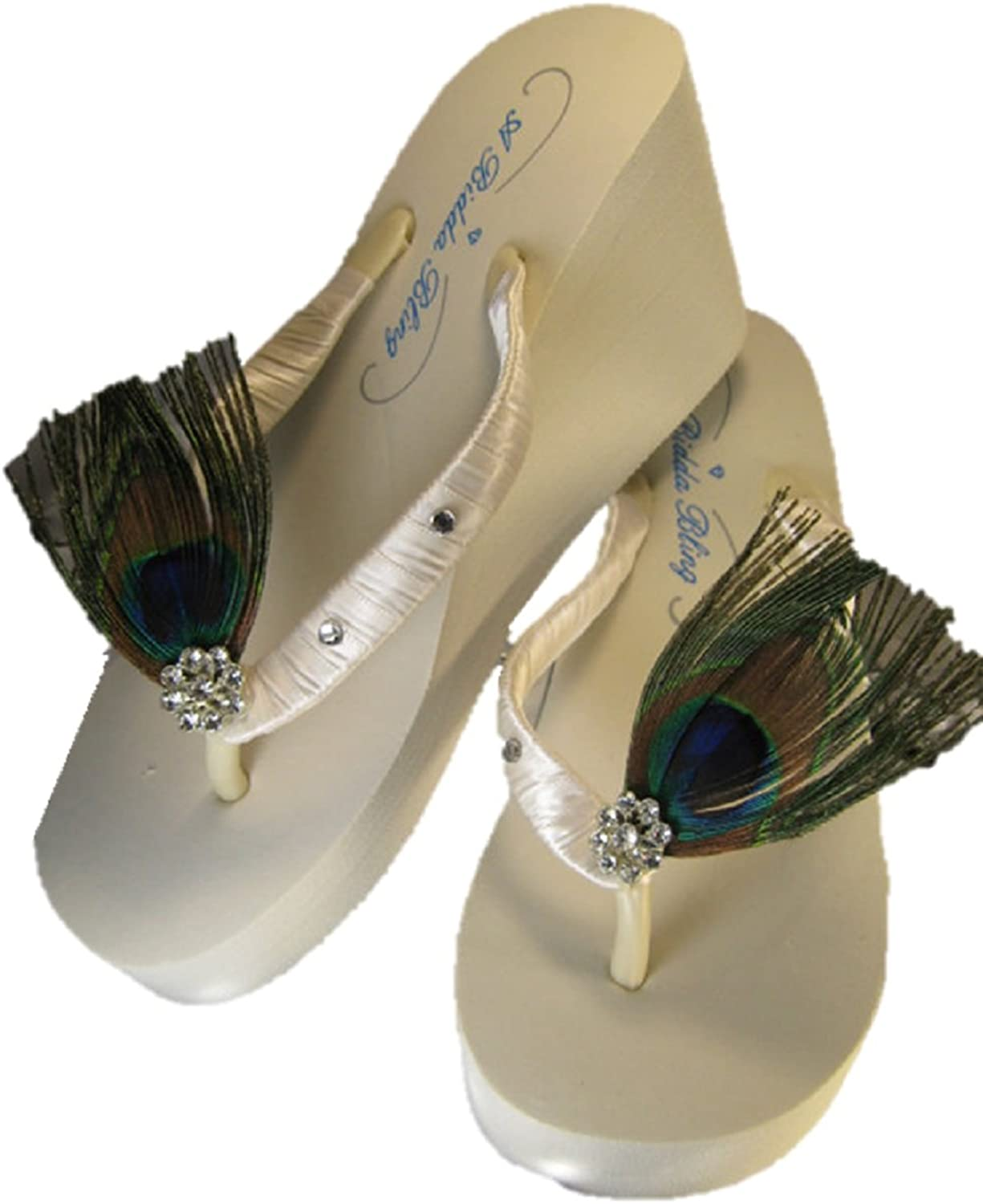 High Ivory Wedge Bridal Flip Flop Sandal with Peacock Feathers and Crystal Medallion