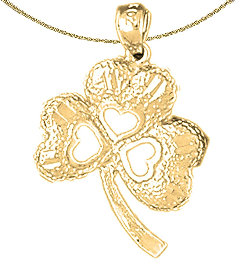 Jewels Obsession 14K Austin Mall Yellow Ranking TOP18 Gold Pendant Clover Shamrock 1 with