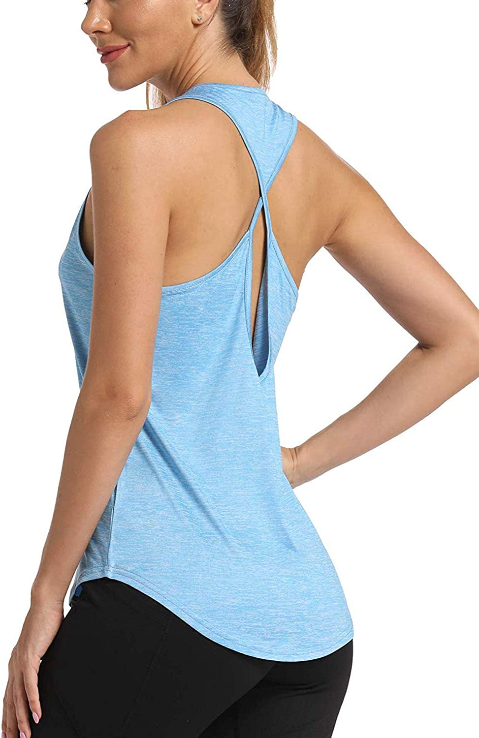 FASBAY Yoga Tank Tops for Women Activewear Workout Tank Tops Open Back Running Sports Shirts