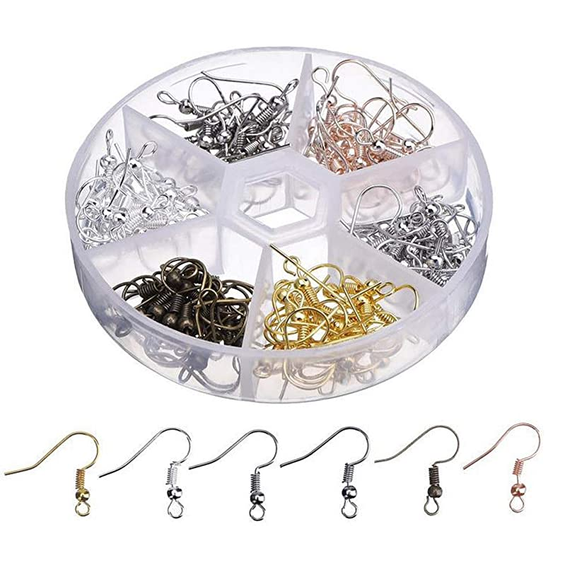 120Pcs Surgical Steel Ball Earring Hooks Ear Wire Coil Earrings Hook with Plastic Storage Case for DIY Jewelry Making, 20Pcs/ Each Color (18mm)