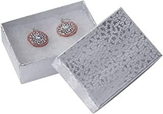 Cotton Filled Silver Embossed Jewelry Boxes - 3 1/16