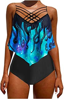 Women Two Piece Swimsuit Push up, Ladies Overlay Print Strappy Tankini Swimwear