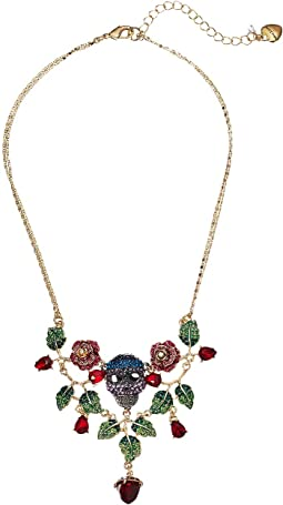 Rose and Skull Bib Necklace