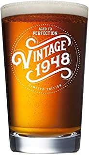 1948 71st Birthday Gifts for Men and Women Beer Glass | Funny Vintage 71 Year Old | 16 oz Pint Glasses Decorations Party Supplies | Anniversary Gift Ideas for Dad Mom Husband Wife | Best Mug Beers