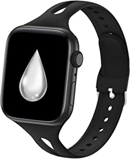 YAXIN Compatible with Apple Watch Bands 38mm 40mm 42mm 44mm, iWatch Bands Women Men Slim Thin Narrow Silicone Sport Bands ...