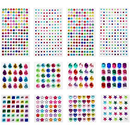 THETHO 12 Fogli Diamanti autoadesivi Gemme di Cristallo Colorate Adesivi per Decorazioni per Bambini Strass autoadesivi Strass acrilici per attaccare Gioielli, Biglietti di Auguri