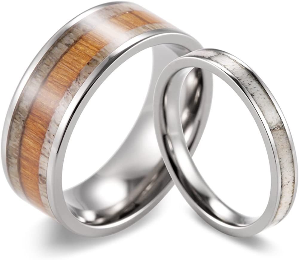 SHARDON Sale Special Price Titanium Wedding Ring Set Ranking TOP12 with Genuine and Wood Deer Ant