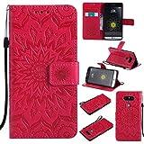 KKEIKO Hülle für LG G5, PU Leder Brieftasche Schutzhülle Klapphülle, Sun Blumen Design Stoßfest Handyhülle für LG G5 - Rot