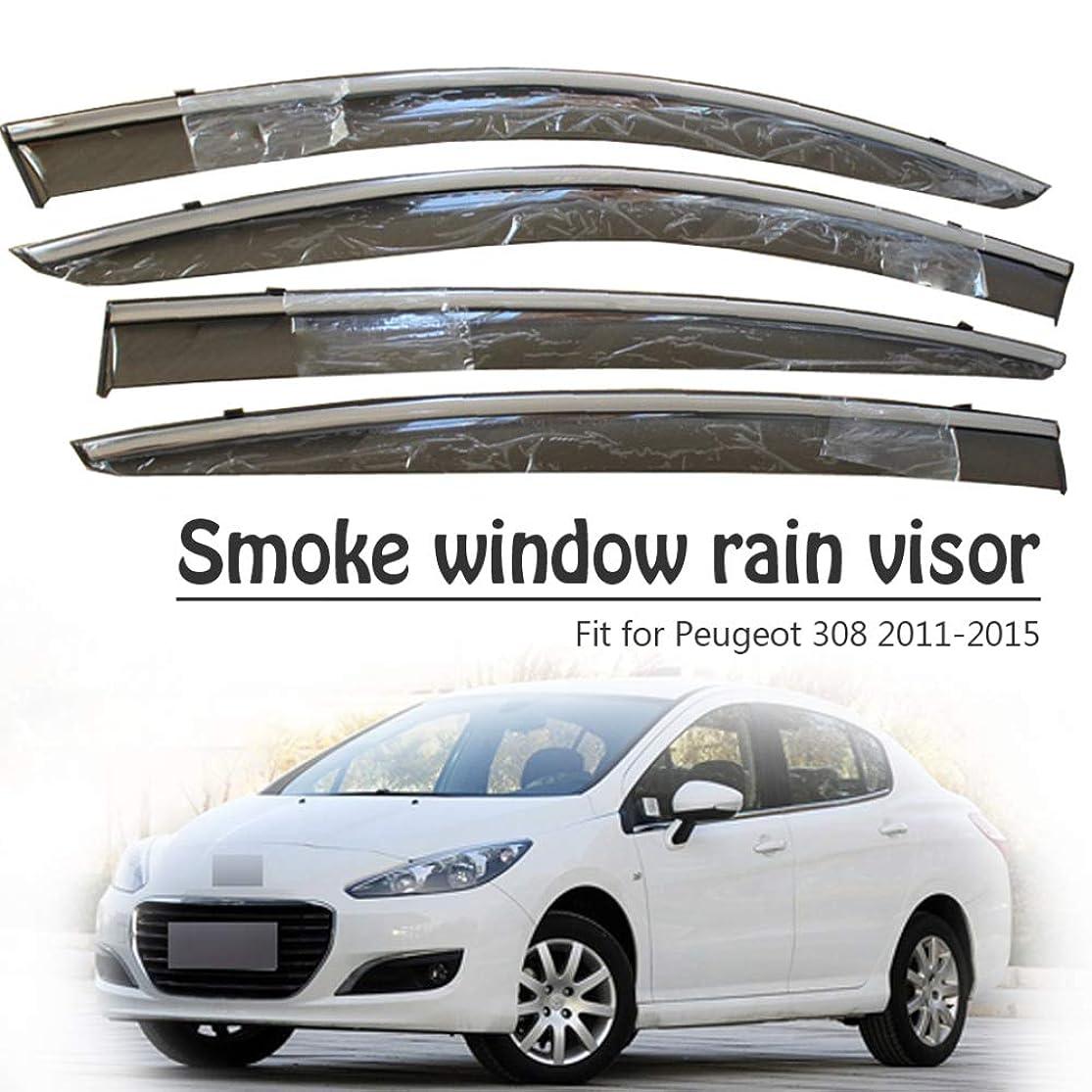 たまに宿題六SENLINSQ 4ピース車の煙窓サンレインバイザーデフレクターガード、プジョー308 2011 2012 2013 2014 2015アクセサリー