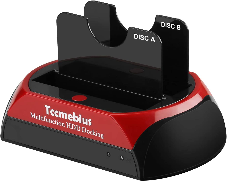 Tccmebius Hard Drive Docking Station, TCC-S868-US USB 3.0 to 2.5 3.5 Inch SATA IDE Dual Slots External HDD Enclosure, for 2.5
