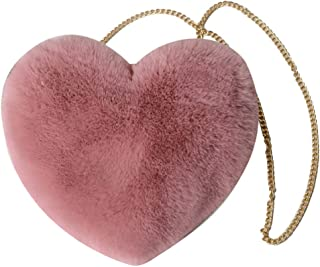 Women's Heart Shaped Faux Fur Crossbody Bag Plush Wallet Purse Chain Shoulder Bag