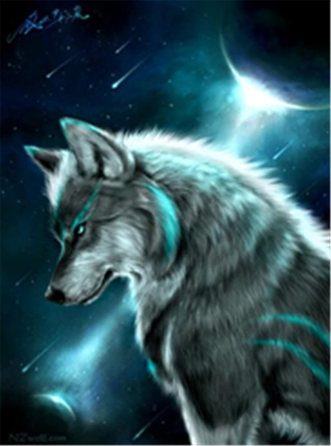 TianMaiGeLun New DIY 5D Diamond Painting Kits Diamond Embroidery Art Painting Pasted Paint By Number Kits Stitch Craft Kit Home Decor Wall Sticker - Moon Wolf, 25x35cm