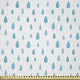 ABAKUHAUS Blau Stoff als Meterware, Aquarell Regentropfen,