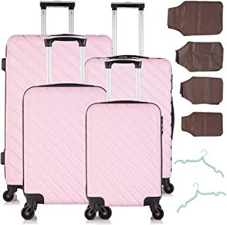 Fridtrip 4 Piece Luggage Set Pink Suitcases with wheels Travel Hard Shell Lightweight Carry On Suitcases 18'' 20'' 24'' 28''