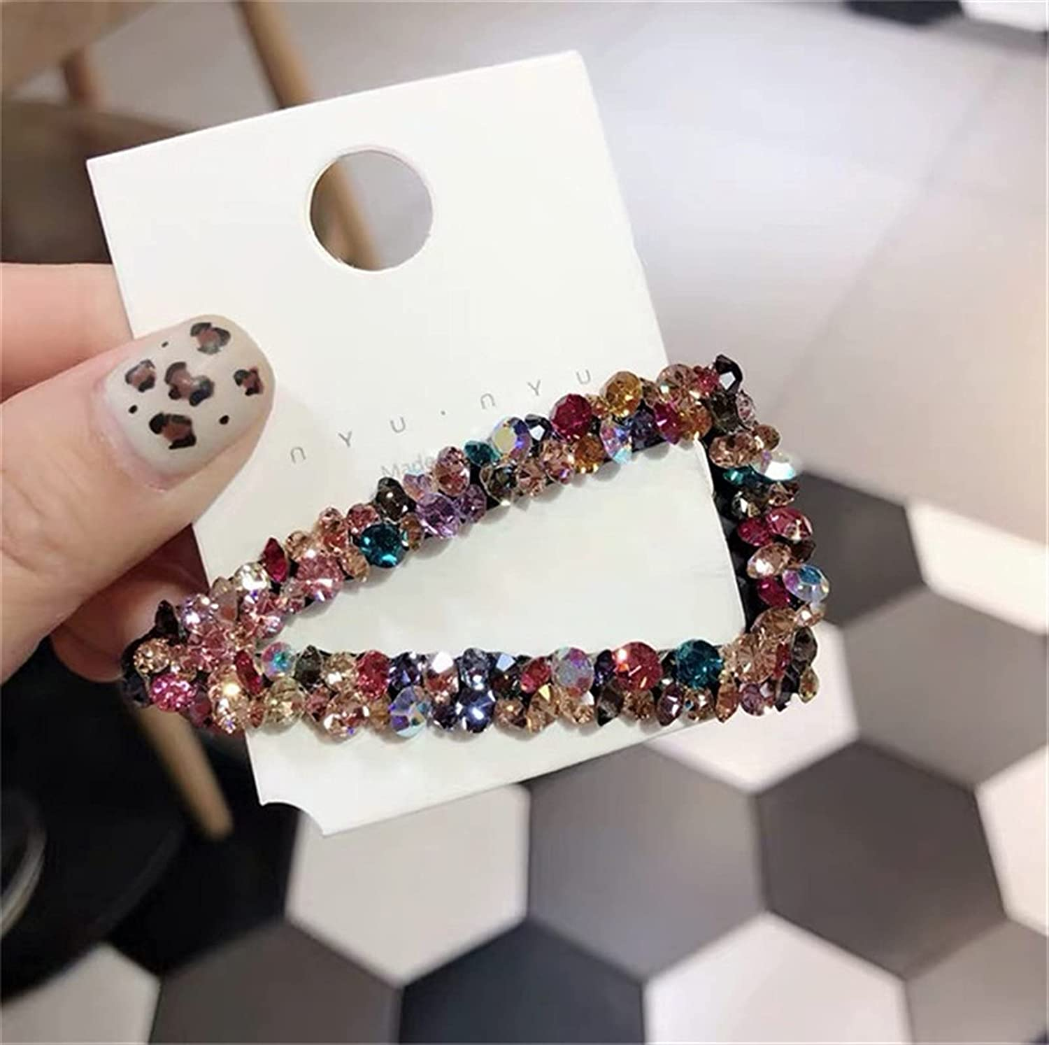 Hairpin Financial sales sale Fashion Girl Hair Selling and selling Clip Geometric Hairpi Diamond Colorful