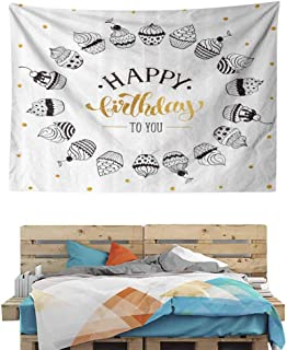 HuaWuChou Happy Birthday to You Quote Tapestry, Indian Dorm Decor for Living Room Bedroom, 36W x 24L Inches