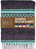 Zulay Home Authentic Mexican Blankets - Hand Woven Yoga Blanket & Outdoor Blanket - Artisanal Boho Blanket & Car Blanket for Beach, Picnic, Camping, or Home Throw Blanket (Purple Green)