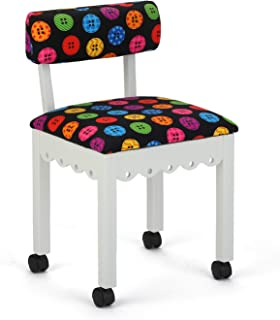 Arrow 8011 Wood Sewing and Craft Chair with Gingerbread Design and Under Seat Storage, Print Upholstery Fabric by Riley Blake, White with Buttons Print Fabric