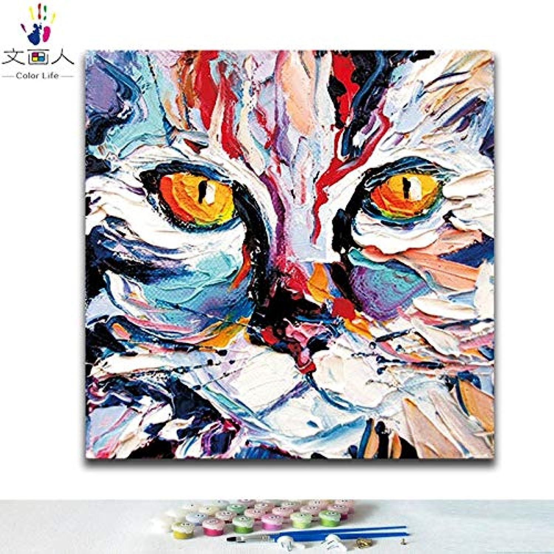 KYKDY DIY Frbungen Bilder nach Zahlen mit Farben Gemalte Katze Tiermalerei Bild Zeichnung Malen nach Zahlen gerahmt nach Hause, 9133 Gemalte Katze, 50x50 kein Rahmen