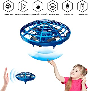 Junboys UFO Flying Ball Toys Rechargeable Mini Drone Hand Controlled Suspension Helicopter Infrared Induction Interactive Drone with 360° Rotating LED Lights for Boys Girls Holiday Birthday Gifts