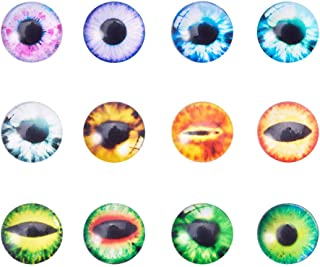 PH PandaHall 20pcs 12x4mm Mixed Evil Eye Printed Dome Glass Cabochons Half Round Flatback Dome Cabochons for Halloween Cameo Pendant Jewelry Making